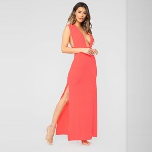 Exaggerated In Style Maxi Dress - Neon Coral Small